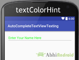 textColorHint in AutoCompleteTextView Android
