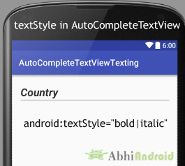 textStyle in AutoCompleteTextView Android