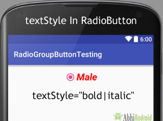 textStyle in RadioButton