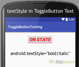 textStyle in ToggleButton Android