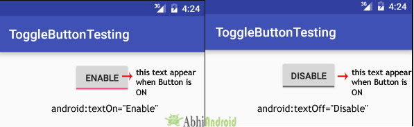 texton and textoff in ToogleButton Android