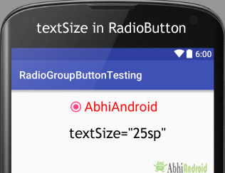 textsize attribute in RadioButton