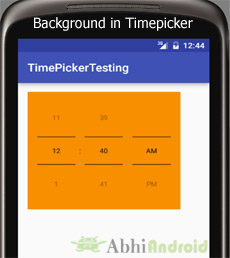 Background in Timepicker Android