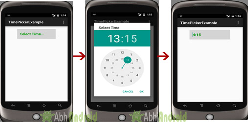 TimePickerDialog Example in Android Studio