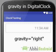 gravity in DigitalClock Android