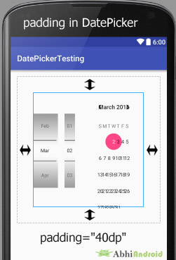 padding in DatePicker Android