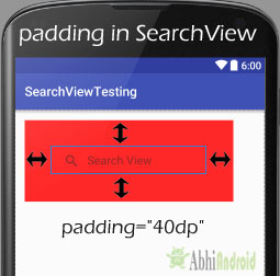 padding in SearchView Android