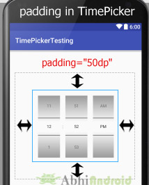 padding in Timepicker