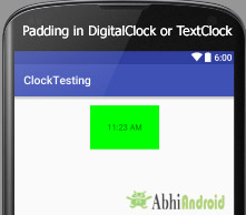 padding in digitalclock or textclock android