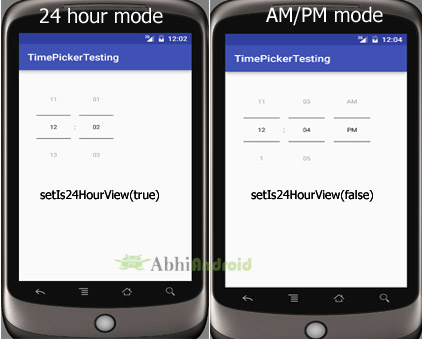 setIs24HourView 24 hour am pm mode timepicker