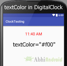 textColor in DigitalClock Android
