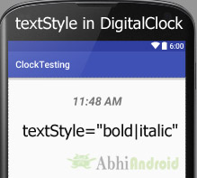 textStyle in DigitalClock Android