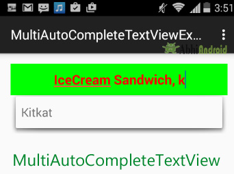 MultiAutoCompleteTextView in Android
