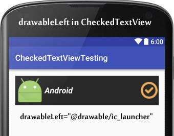 drawableLeft in CheckedTextView Android