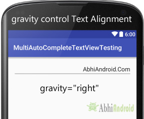 gravity in MultiAutoCompleteTextView Android