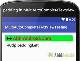 padding in MultiAutoCompleteTextView Android