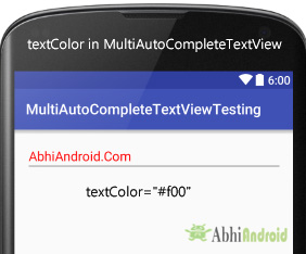 textColor in MultiAutoCompleteTextView Android