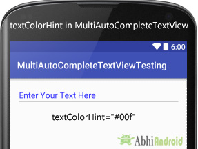 textColorHint in MultiAutoCompleteTextView Android