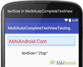 textSize in MultiAutoCompleteTextView