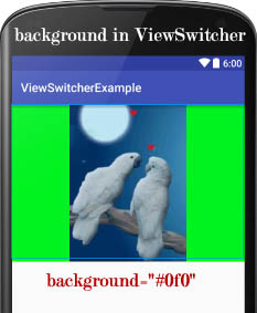 background in ViewSwitcher Android