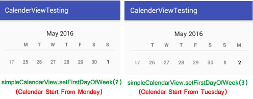 setFirstDayOfWeek in CalendarView Android
