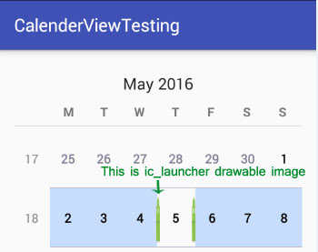 setSelectedDateVerticalBar in Calendar View Android