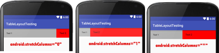 stretchColumns in Table Layout Android