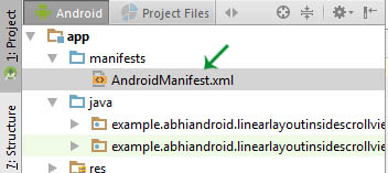 AndroidManifest xml location in Android Studio
