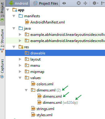 Dimension xml File in Android Studio