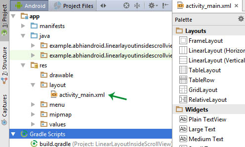 Layout XML in Android Studio