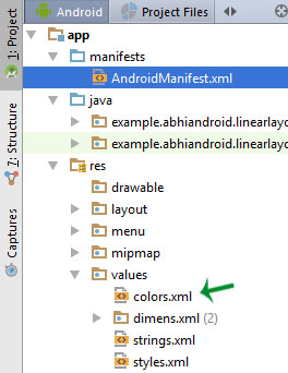 colors xml location Android Studio