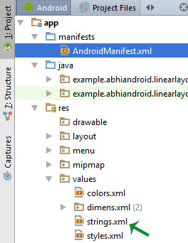 strings xml location android studio
