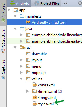 styles location xml Android Studio