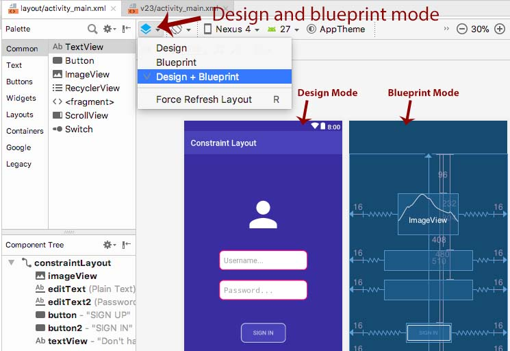 Design and blueprint mode android studio