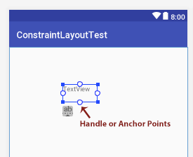 handle anchor point Constraint Layout Android Studio